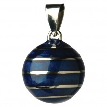 Bola smykke mørkeblå med sølvlinjer